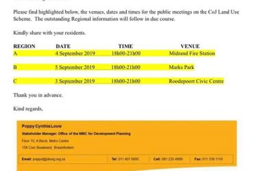 Land Use Scheme Public Meeting Dates